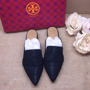 Tory Burch Navy Suede Mules, 8M